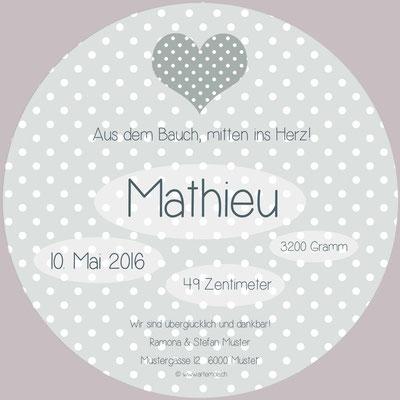 Mathieu Rückseite / 148x148mm / rund