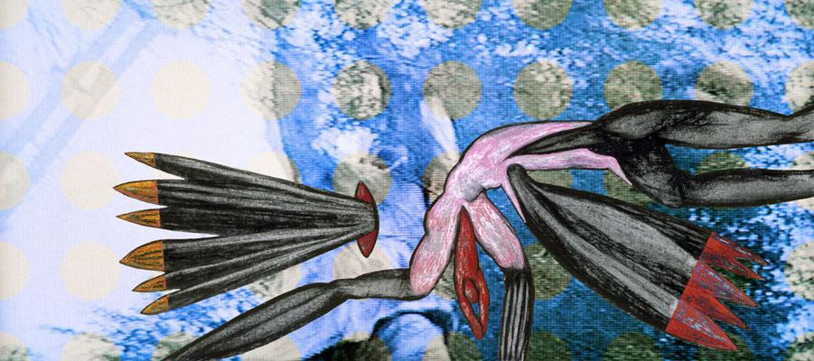 """Feuer holen  2006, grandezza variabile ,  mixmedia,  Immagine 2 dalla serie """"Tiger und Drachen"""""""