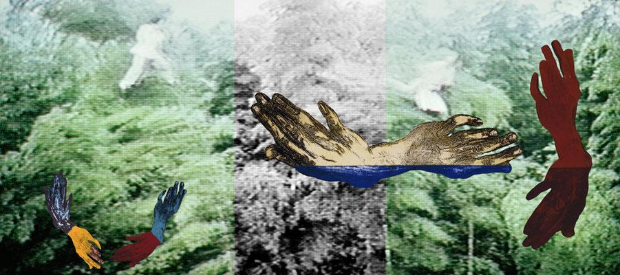 """Koralle und Blume  2006, grandezza variabile,  mixmedia,  Immagine 4 dalla serie """"Tiger und Drachen"""""""
