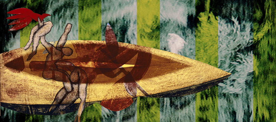 """Den roten Vogel hissen  2006, grandezza variabile,  mixmedia,  Immagine 1 dalla serie """"Tiger und Drachen"""""""