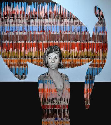 Das rasende Fieberkleid spannen, greifen über den stillen knotigen Teig hinein in den Stolz, der weint, 2008, 140x260 cm, acrilico su tela