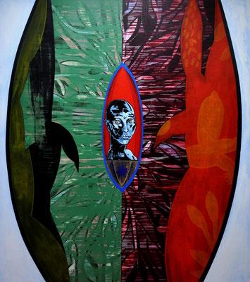 Leiten den Stern im Wütenden, weiten das Tor, die Pfiffe lagern in Wasser, 2009, 140x160 cm, acrilico su tela