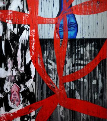 Perlen Lichtrippen, Umwege des Absprungs, ein Haus, ein Glück, die Wildnis, 2014, 140x160 cm, acrilico su tela