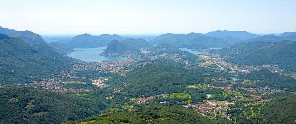 Panoramica su Lugano e la valle del Vedeggio