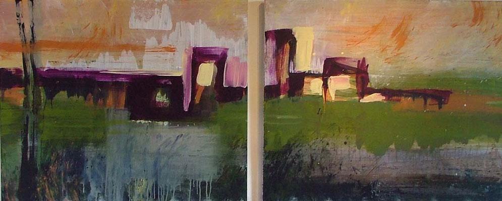 landschap met gebouwen 1, 240 x 100 cm acryl op doek - verkocht