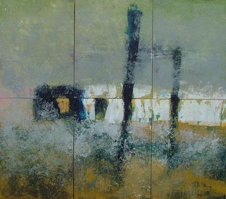 rauw landschap, 270 x 240 cm acryl op doek - 6 elementen van 90 x 120 cm