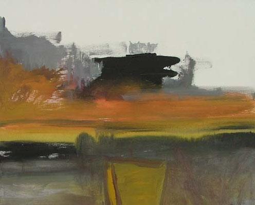 zwart element in landschap, 120 x 90 cm acryl op doek