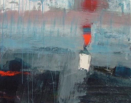 blauw landschap, 110 x 90 cm acryl op doek - verkocht