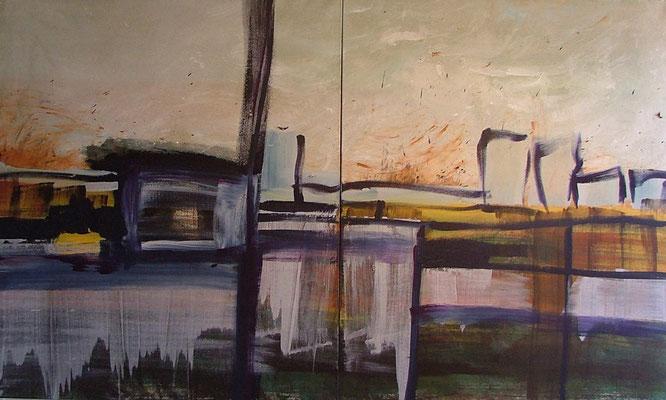 landschap met gebouwen 2, 240 x 100 cm acryl op doek