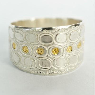 Ciselée ovales/fleurs/points d'or fusionnés