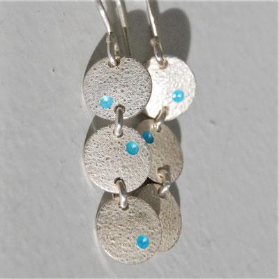 Trio-texture piquée-émail bleu azur
