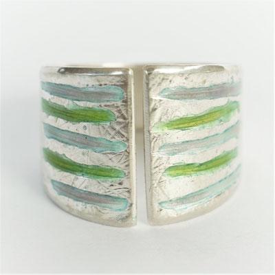 Texture fibres/rainures-émail vert/gris