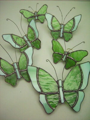 Set de Mariposas 6 pzas - Módulos decorativos de pared - Color Verde - (1 Gd, 3 Med, 2Ch.)