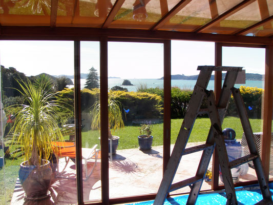 """Paihia: Sanding and repainting """"Romantic Chalet's"""" conservatory"""