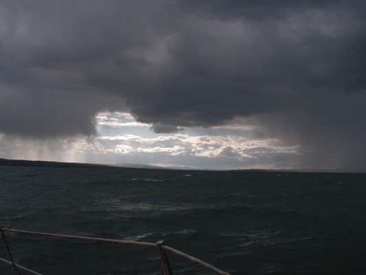 On my first cruise with AmaJuta: strong winds from Langenargen to Konstanz