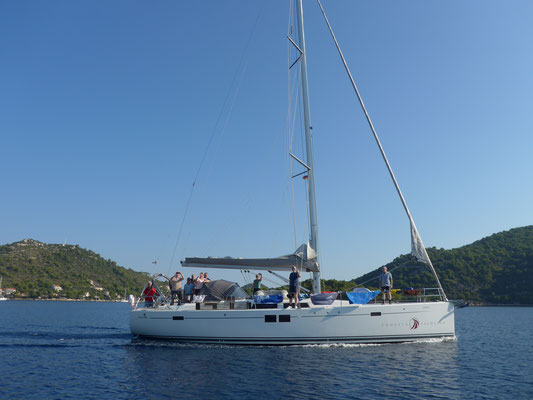 When leaving Lastovo: meeting a lovely German crew on a 50' Hanse
