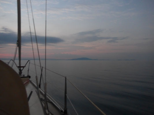 After leaving Medulin at 4:00am there's not a single little wind on the Kvarner Channel