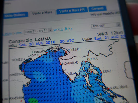 "Weatherforecast for the next day (the ""Kvarner crossing day"")..."
