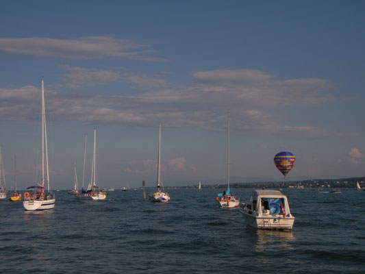 """On anchor near Konstanz during the """"Seenachtsfest""""..."""