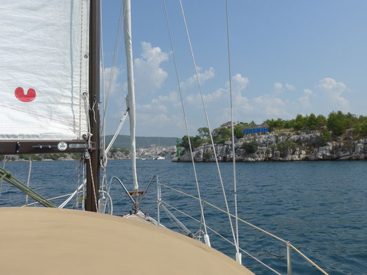sailing downwind Sv Ante chanel to Sibenik