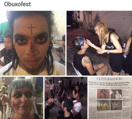 Maquilladora profesional de caracterización para eventos de terror.