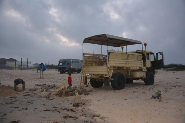 On the beach with our trucks