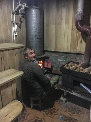 die Sauna wird für uns angeheizt