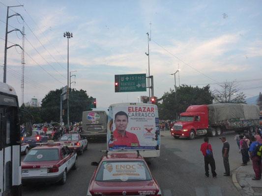 Straßenblockade in Oaxaca