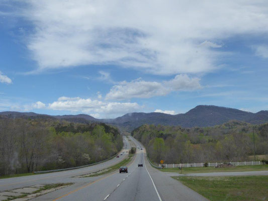 Auf dem Weg in die Blue Ridge Mountains