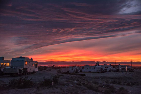 Sonnenuntergang in Slab City
