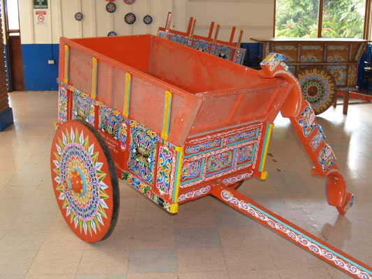 Vivid colored oxcarts in Sarchi