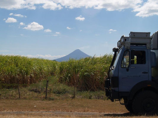 On the road - in the background one out of more that 20 volcanos in Nicaragua