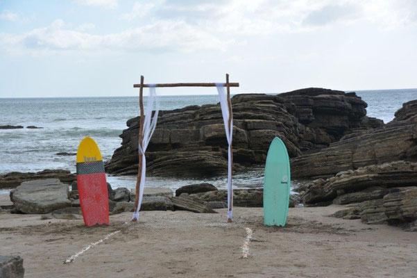 Surfer Hochzeit am Strand