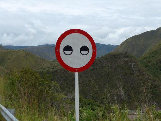 """Wir vermuten das Schild heißt """"Augen zu und durch"""""""
