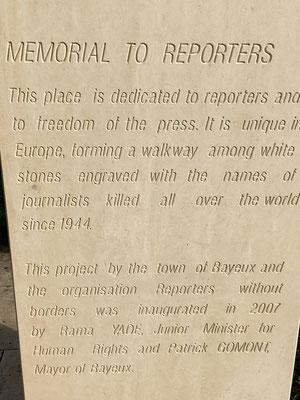 Bayeux - Memorial für ums Leben gekommene Journalisten