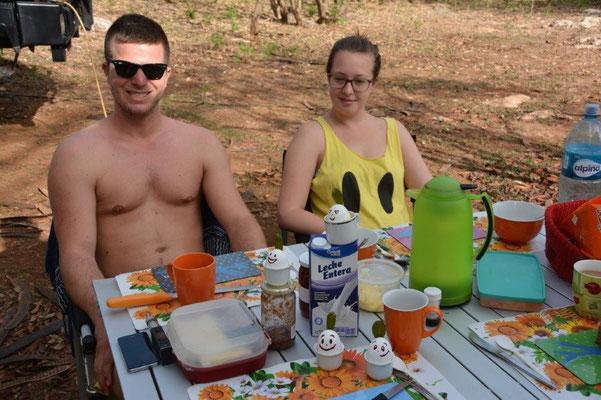 Osterfrühstück auf dem Campground in Izamal