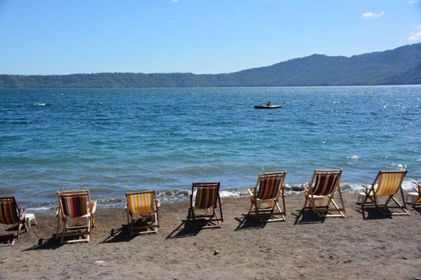 Am Strand vom Hotel Paradiso an der Laguna Apoyo