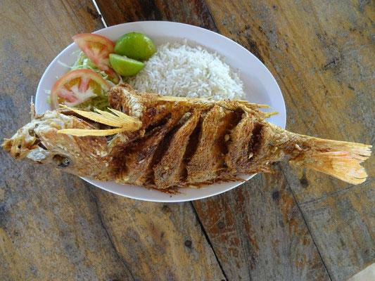 Lecker Fisch am Strand von Santa Clara