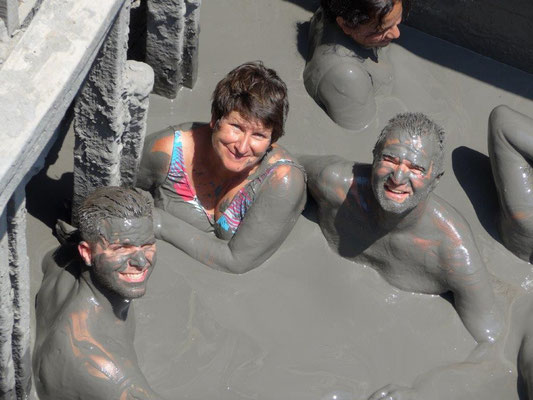 a bath in the mud volcano