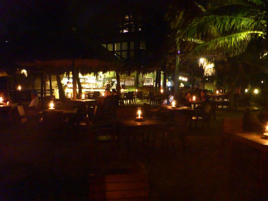 Beach bar with candle light