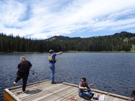 Fliegenfischer am Bayhorse Lake
