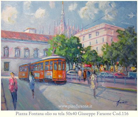 Piazza Fontana - olio su tela opera di Giuseppe Faraone