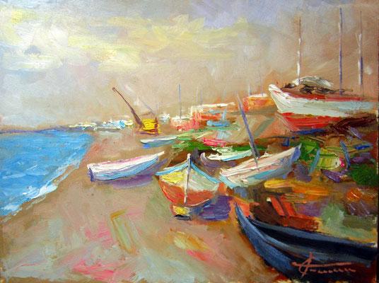 barche a riposo - dipinto di giuseppe faraone