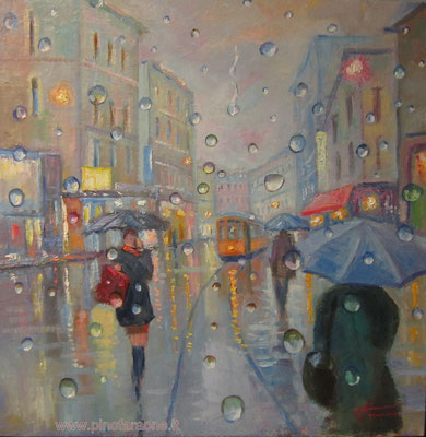 Pioggia - dipinto di giuseppe faraone