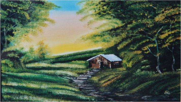 Nr.1 Versteckte Hütte. Format 40x50cm
