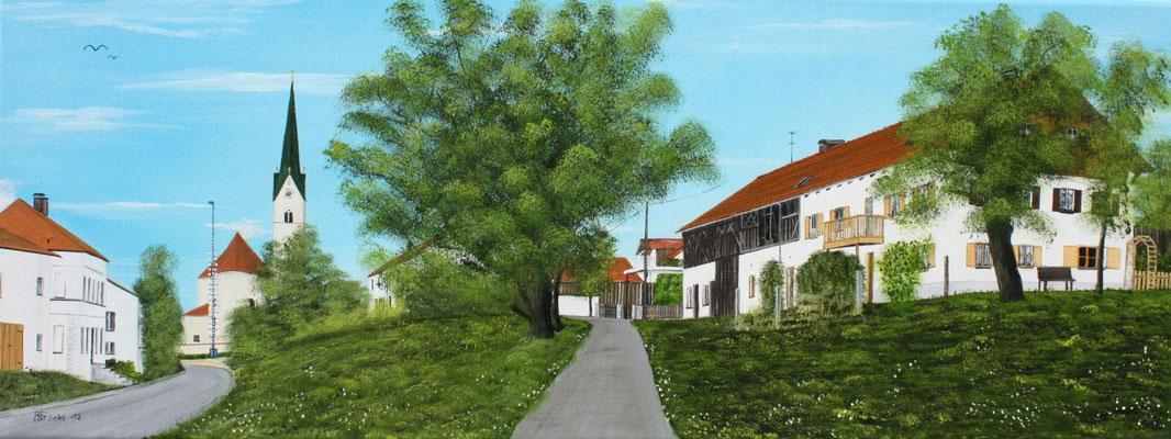 Nr.176 Schwindkirchen von Osten. Format 80x30cm Breitkeilrahmen