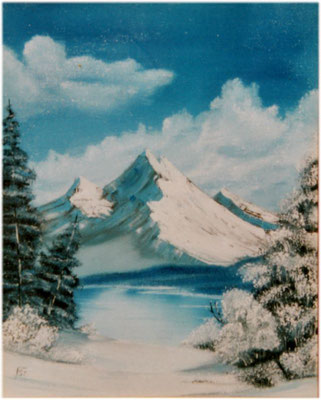 Nr.6 Berg mit See im Winter. Format 40x50cm