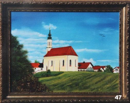 Nr.47 Kirche von Hampersdorf. Format 30x40cm
