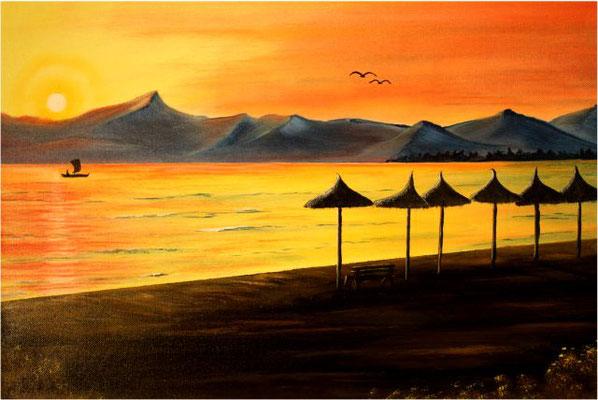 Nr.88 Abendstimmung am Meer. Format 40x60cm Breitkeilrahmen