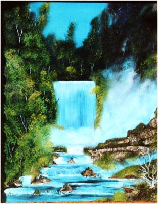 Nr.9 Nächtlicher Wasserfall. Format 40x50cm